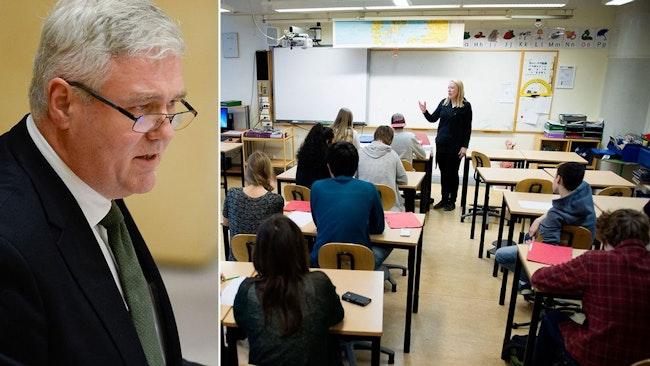 Vikarierande partiledaren Anders W Jonsson (C) och till höger en bild från ett klassrum.