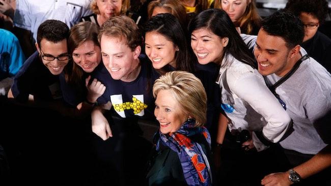 HillaryClinton med supportrar i Nevada