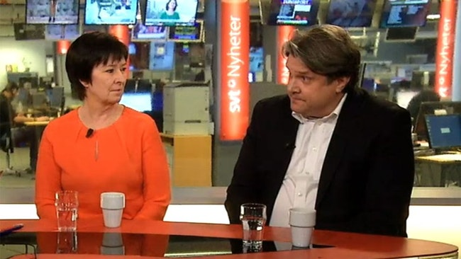 Mona Sahlin och Hans Brun i SVT-studion.