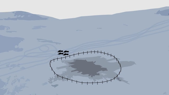 Grafik över olycksplatsen, fyra skotrar står parkerade vid staketet som omgärdar nedslagsplatsen.