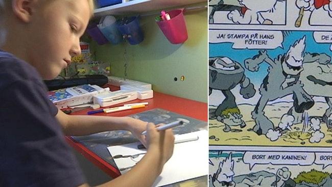 Sjuårige Frans gillar att teckna och har vunnit läsartävling i tidningen Bamse.