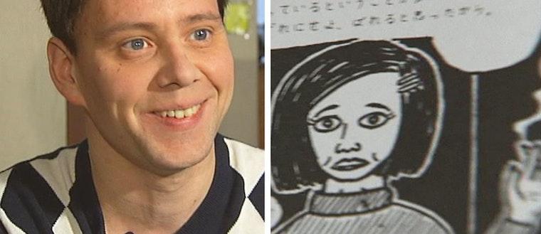 Serietecknaren Mats Jonsson och en av hans teckningar.