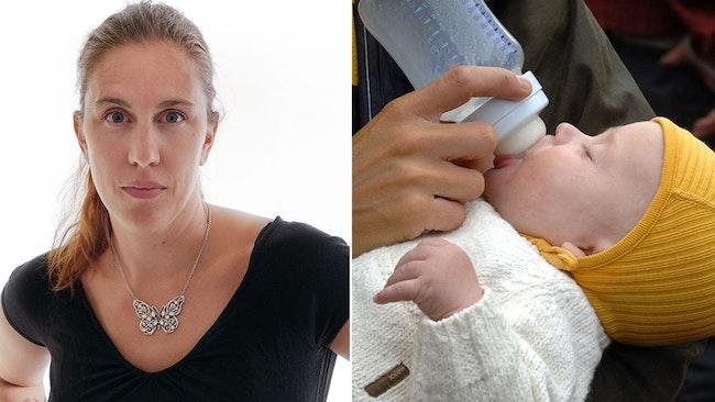 Petra Jankov Picha och bebis som blir matad med flaska.