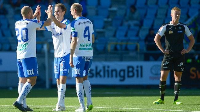 Norrköpings alla tre målgörare Andreas Blomqvist, Andreas Johansson och Daniel Sjölund.