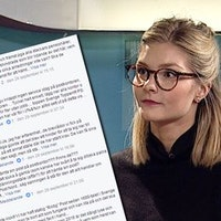 Ett montage av Facebookkommentarer och SVT:s reporter Linnea Gustafson i studion.