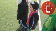 Lucas Rahnster, 5 år, redo för första fotbollsträningen