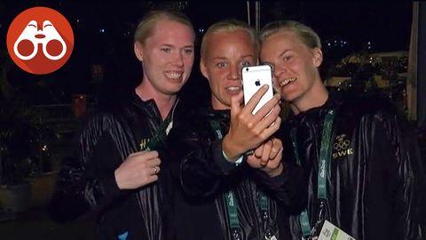 Hedvig Lindahl, Caroline Seger och Nilla Fischer tar en selfie