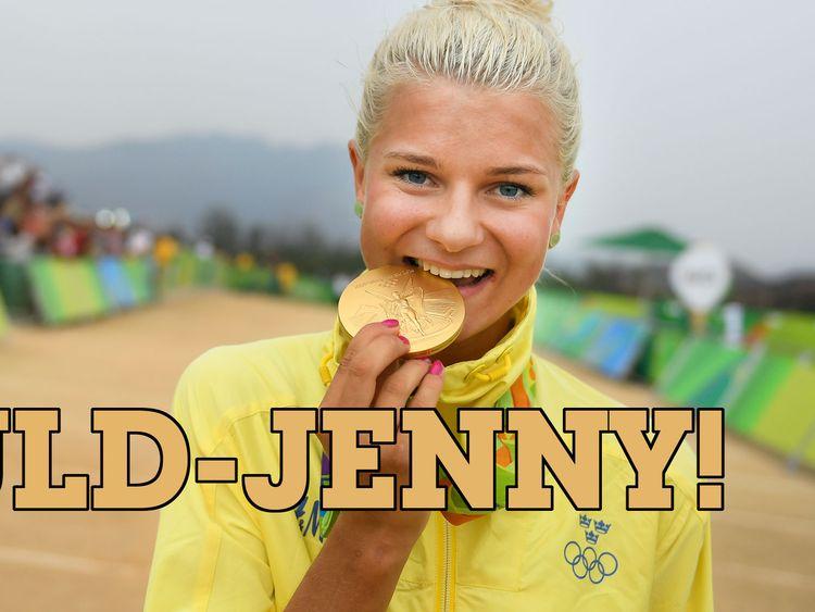 Jenny Rissveds med guldmedaljen