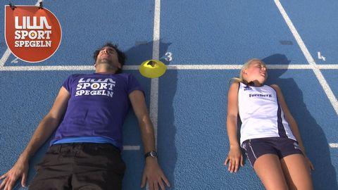 Stephan och Beate laddar för 60-metersloppet