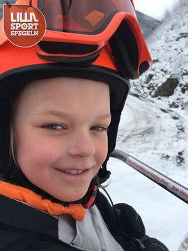 Simon Roos, 8, älskar att åka skidor i Alperna.