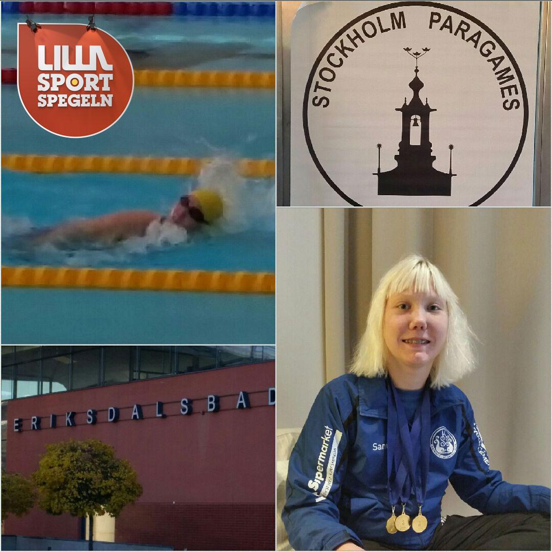 """Sanna Marjeta, 15: """"Jag älskar att simma och i år var jag med och tävlade på Stockholms paragames och tog fyra guldmedaljer""""."""