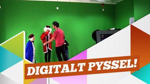 Barn filmar julkort framför en greenscreen