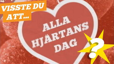 Ett rött hjärta med texten Alla hjärtans dag