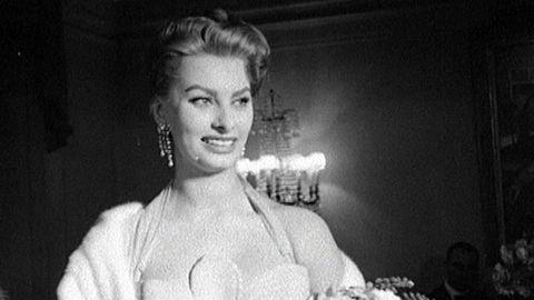 Sophia Loren besöker italiensk filmfestival i Stockholm 1955