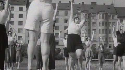 Husmodersgymnastik på Zinkensdamm 1942