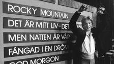 """Björn Skifs efter vinsten med bidraget """"Fångad i en dröm"""" i Melodifestivalen 1981."""