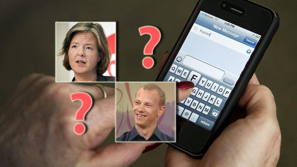 Bildmontage på Carin Jämtin, Petter Persson och en mobiltelefon.