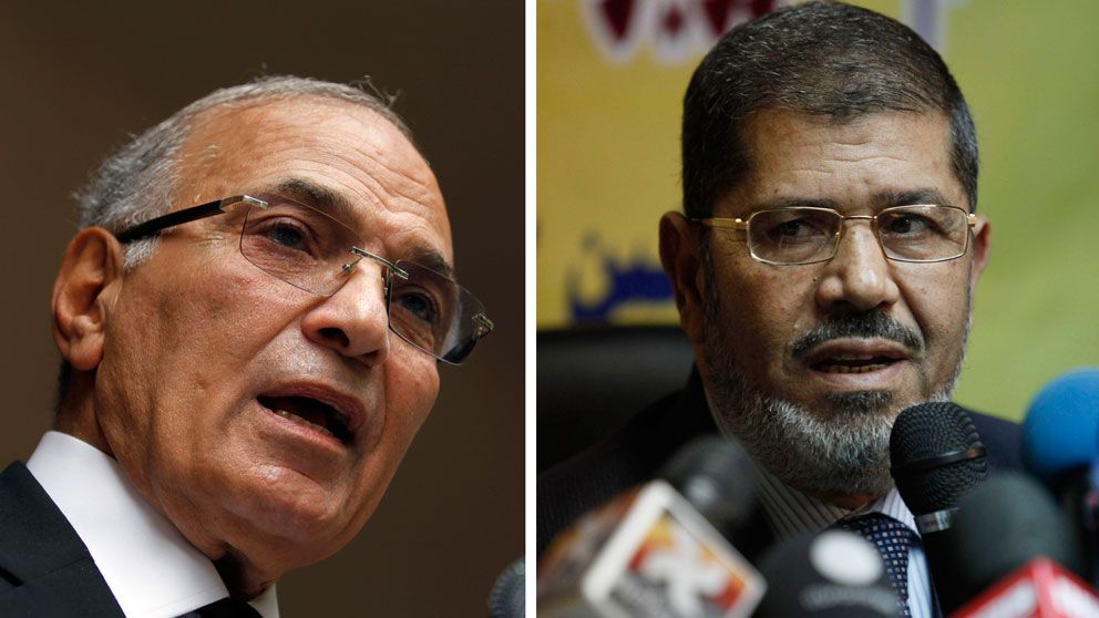 Ahmed Shafiq och Mohammed Mursi.