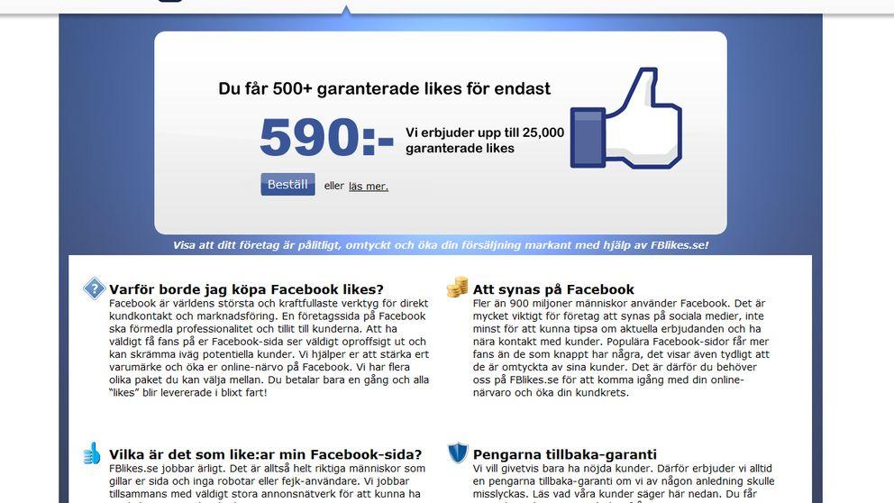 Företag köper facebook-likes som en del i sin marknadsföring.