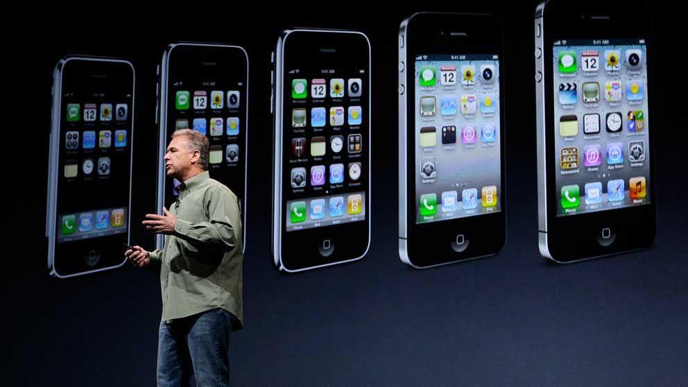 Apples marknadschef Phil Schillervid lanseringen av den nya Iphone 5 vid Apples presskonferens i San Francisco.