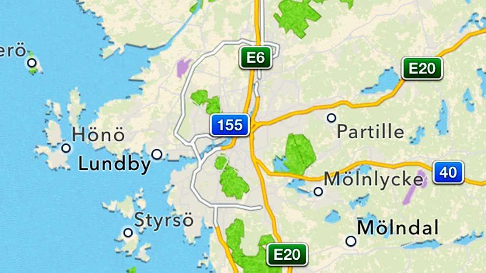 Göteborg inte ens på kartan, enligt Apple. Staden låg tidigare ungefär vid skylten för väg 155.