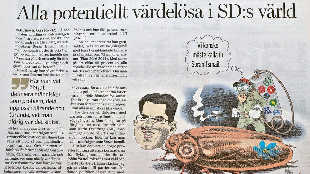 Ledarsidan från Länstidningen i Östersund.