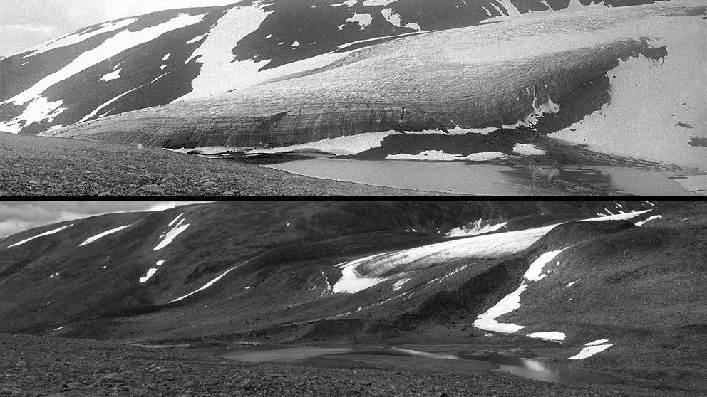 Storglaciären från Tarfaladalen år 1910 och 2010. Mellan 1910 och 1970 så minskade glaciären kraftigt. Men på 1980- och 90-talen ökade den i volym till följd av ökande vinternederbörd. Sedan mitten av 90-talet har emellertid alla svenska glaciärer blivit mindre.