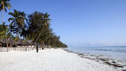 Sandstrand på Zanzibar.