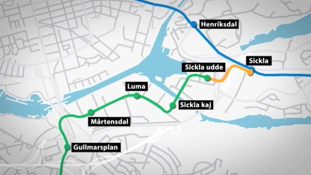 tvärbanan hållplatser karta Tvärbanan knyts ihop med Saltsjöbanan | SVT Nyheter tvärbanan hållplatser karta