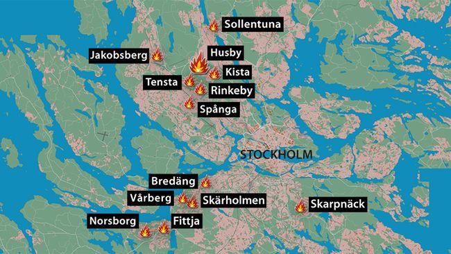 förorter stockholm karta Bränder i ett tiotal förorter i natt | SVT Nyheter förorter stockholm karta