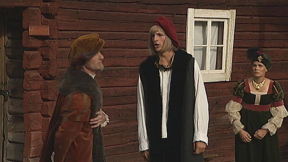 Gustav Vasa i Svärdsjö. Den unge Gustav Eriksson spelas av Edvin Erlandsson, Joakim Brahe av Matti Svedlund och Margareta Brahe av Emma Andersson.