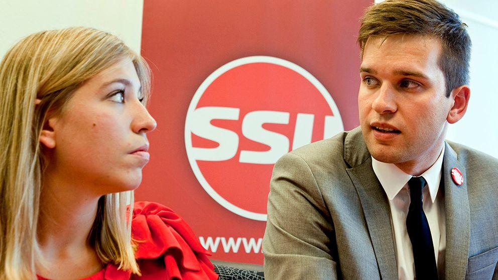 Förbundssekreterare Ellinor Eriksson och förbundsordförande Gabriel Wikström