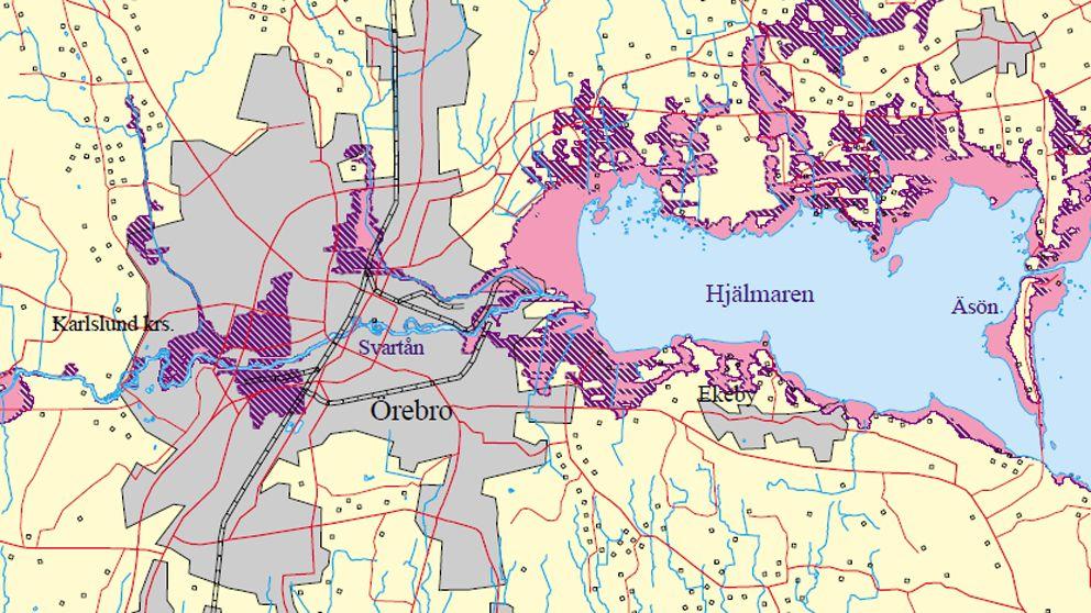 hjälmaren karta Här är risken för översvämning störst | SVT Nyheter hjälmaren karta