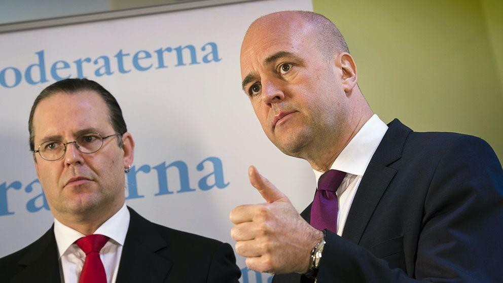 Anders Borg (M) och Fredrik Reinfeldt (M)