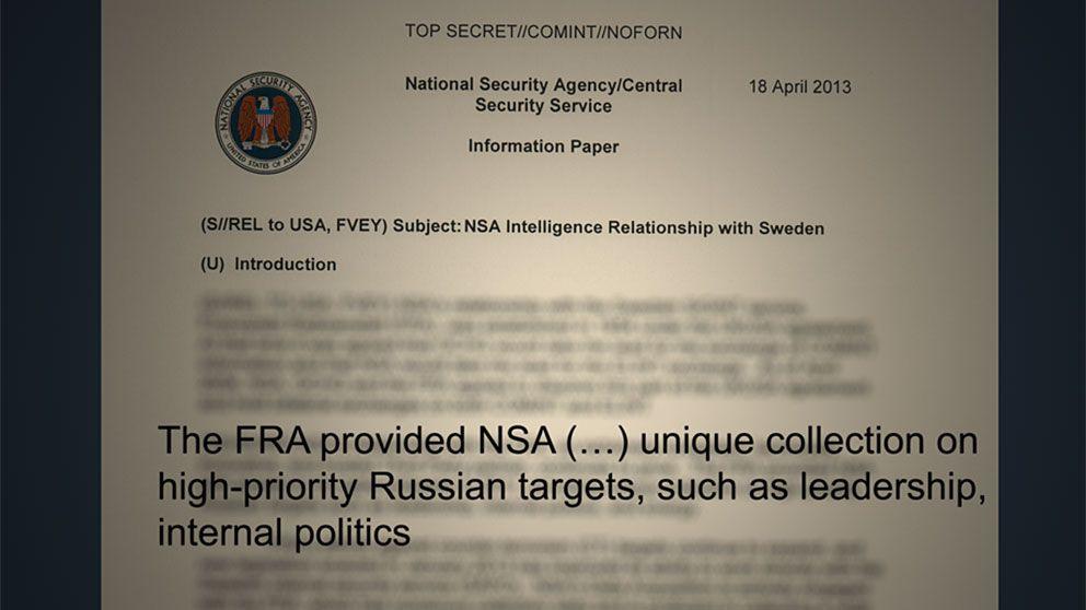 """Utdrag ur de NSA-dokument som SVT har tagit del av. """"FRA försedde NSA (...) en unik samling om högprioriterade ryska mål inom ledarskiktet, inrikespolitiken""""."""