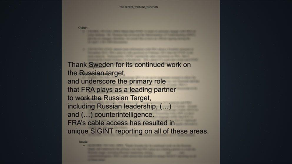 Utdrag ur de NSA-dokument som SVT har tagit del av. I dokumentet, som är en instruktion till NSA:s högsta chefer inför ett högnivåmöte med FRA, så uppmanas cheferna att tacka Sverige.