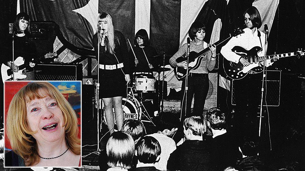Nursery Rhymes på 1960-talet. Marie Selander vid sångmicken. Infälld en bild på Marie i dag.