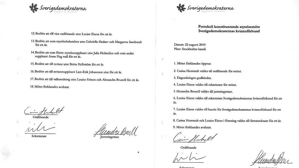 Styrelseprotokollet, som enligt Aftonbladet är förfalskat, skulle bevisa kvinnoförbundets existens.