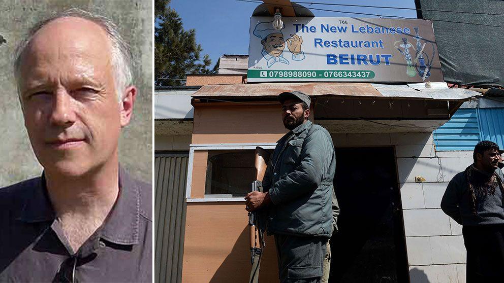 Nils Horner till vänster. Till höger afghanska soldater vid mordplatsen.