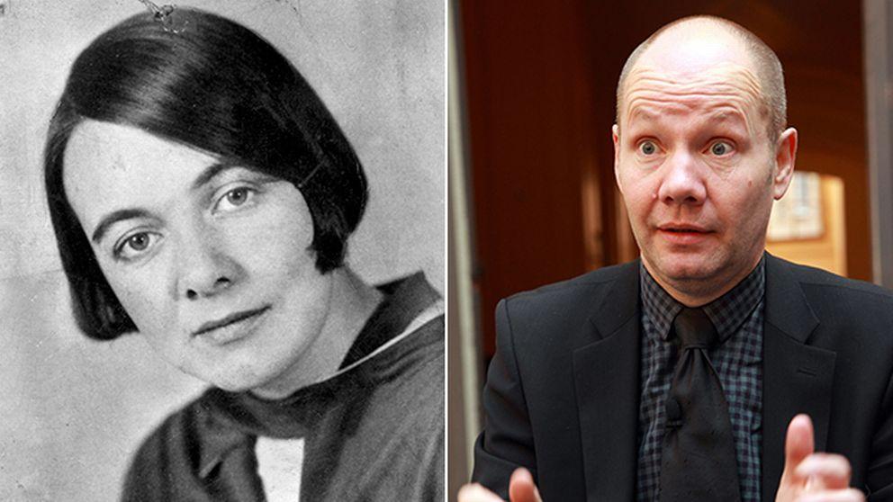 Författaren Karin Boye och ständige sekreteraren Peter Englund.