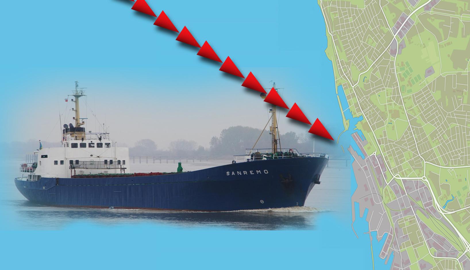 Fartyg nara krocka med helsingborg