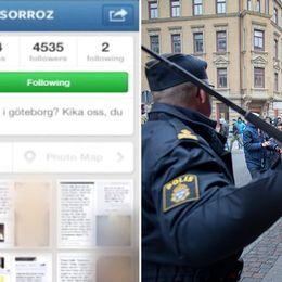Instagramupploppet i Göteborg. Polis med batong, skärmdump från Instagram.