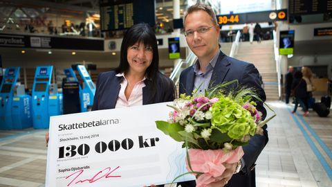 Uppdrag gransknings Sophia Djiobaridis bredvid Joacim Olsson, vd för Skattebetalarna.