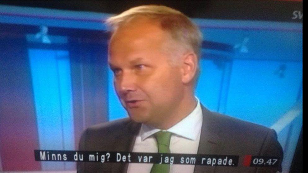 Jonas Sjöstedt i Gomorron Sverige – med något felaktig undertext.