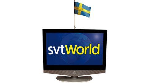 SVT World:s tv och flagga