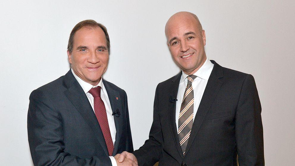 Stefan Löfvén och Fredrik Reinfeldt möts i en duell. Foto:Carl-Johan Söder/SVT