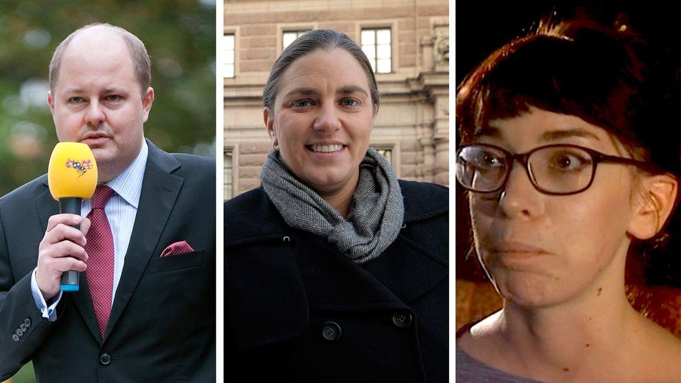 Expressens chefredaktör Thomas Mattsson, Piratparties partiledare Anna Troberg och Researchgruppens My Vingren.