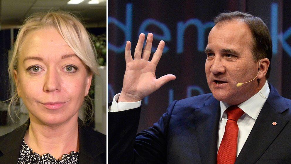 Elisabeth Marmorstein, politikreporter SVT, och Stefan Löfven S-ledare