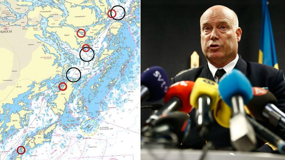 Biträdande insatschef, konteramiral Anders Grenstad, höll presskonferens med senaste uppdateringarna om operationen i Stockholms skärgård.