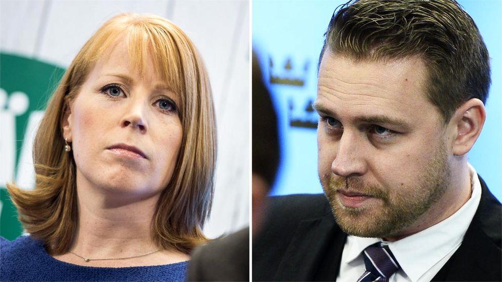 Centerpartiets partiledare Annie Lööf och Sverigedemokraternas tillförordnade partiledare Mattias Karlsson.